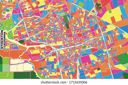 Colorful vector map of Stockton, California, U.S.A.. Art Map template for selfprinting wall art in landscape format.