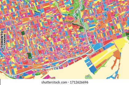 Colorful vector map of Toronto, Ontario, Canada. Art Map template for selfprinting wall art in landscape format.