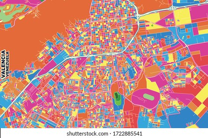 Colorful vector map of Valencia, Venezuela. Art Map template for selfprinting wall art in landscape format.