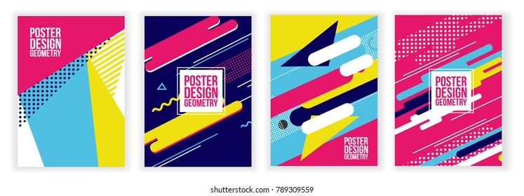 colorful vector minimalistic geometric background memphis style in design 90s-80s. trendy bright background, graphics suitable for posters, booklets, envelopes and covers