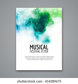 Colorful vector music poster festival concert template flyer. Musical flyer choir design poster with melody notes.