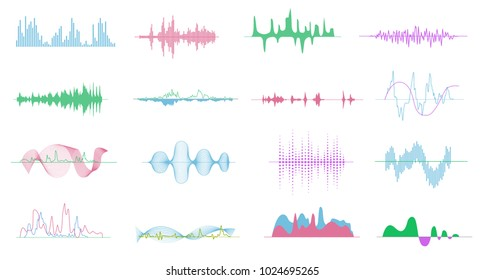 Colorful vector music sound waves shapes isolated collection