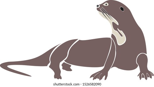 Colorful vector of a Otter resting