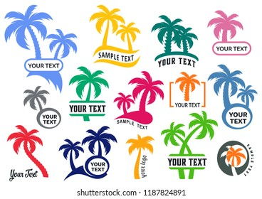 Colorful vector palm tree silhouette logo templates collection