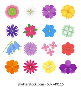 Colorful vector paper flowers set illustration. 3d origami abstract flower icons isolated on white background.Paper art style for banner, poster, promotion, web site, online shopping, advertising.