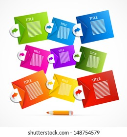 Colorful vector paper progress steps for tutorial, infographics