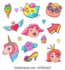 Colorful vector patch badges.  Unicorn, hearts, cat, baby bear, flower, sweets and other elements. Vector comic style stickers, pins, patches, illustration in cartoon 80s-90s comic style.