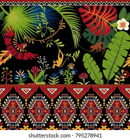 Colorful vector pattern with geometrical elements, tropical plants and animals