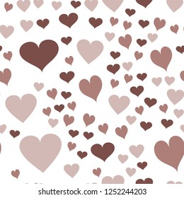 Colorful Vector Pattern with Hearts  in chocolate color. Elements are not cropped. Pattern under the mask. Perfect design for textile, box, posters, cards, web etc.