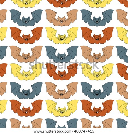 colorful vector pattern illustration angry bat stock vector royalty