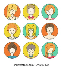 Colorful vector people avatar collection. Vector design of different characters including man and women. Line design icon set.
