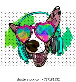 41ed723a7362 Colorful vector poster with dog on t-shirt. Dog wearing glasses and  earphones.