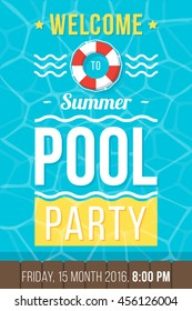 Colorful vector poster, flyer or banner template for pool party. Flat style. Eps 10.