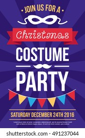 Colorful vector poster, invitation, banner or flyer template for Christmas costume party. Flat style.