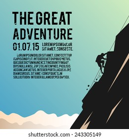 Colorful vector poster. Quality design illustrations, elements and concept. The climber climbs the mountain.