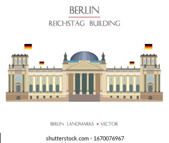 Colorful vector Reichstag building front view, famous landmark of Berlin, Germany. Vector flat illustration isolated on white background. Berlin travel concept. Stock illustration