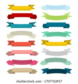 Colorful Vector Retro Empty Paper Banners - Ribbons Set Isolated on White Background