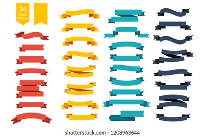 Colorful Vector Ribbon Banners. Set of 34 ribbons. Ribbons set. Banners set. Ribbon colorful. Eps10