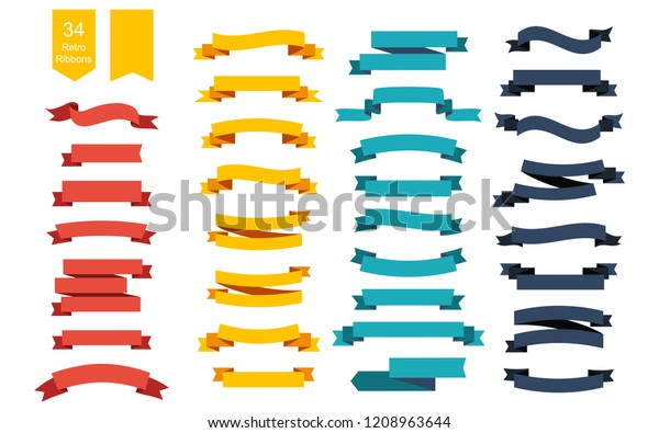 Colorful Vector Ribbon Banners. Set of 34 ribbons. Ribbons set. Banners set. Ribbon colorful. Eps10