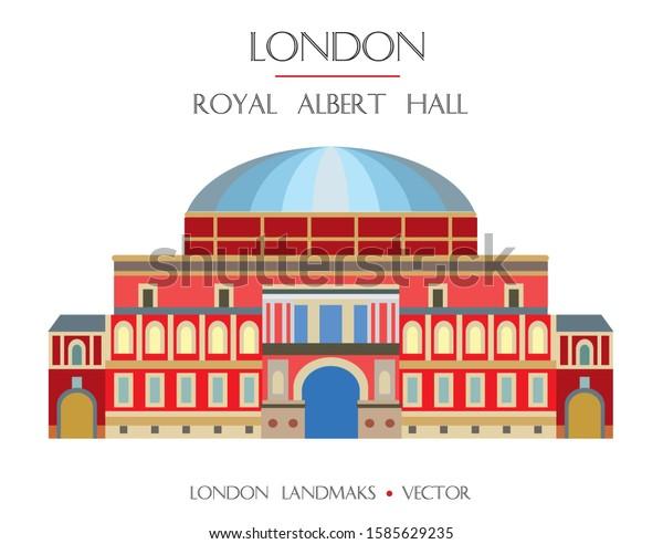 Colorful vector Royal Albert Hall, famous landmark of London, England. Vector flat illustration isolated on white background. Stock illustration