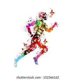 Colorful vector runner silhouette background with butterflies.