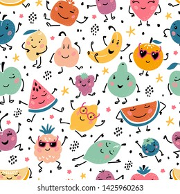 Colorful Vector Seamless Pattern with Cartoon Doodle Funny Cute Fruits and Berries. Summer Kawaii Fruit Food Childish Background