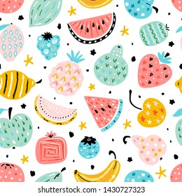 Colorful Vector Seamless Pattern with Cartoon Doodle Cute Fruits and Berries with abstract patterns. Summer Fruit Food Childish Background