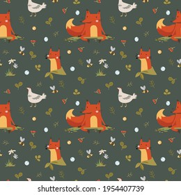 Colorful vector seamless pattern with cute characters: foxes and chicken.