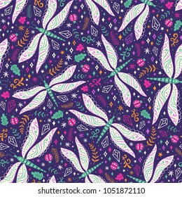 Colorful vector seamless pattern with dragonflies, ladybugs, crystals and floral elements.