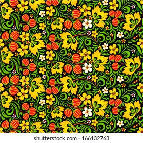 Colorful vector seamless pattern in hohloma style