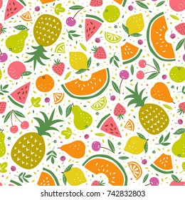 Colorful vector seamless pattern with summer fruits
