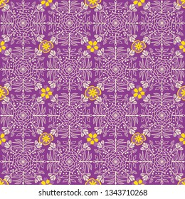 colorful vector seamless pattern tile in beautiful mauve and yellow color with symmetrical floral and foliage drawing for textile, fabric, backgrounds, wallpaper and classic surface design templates.