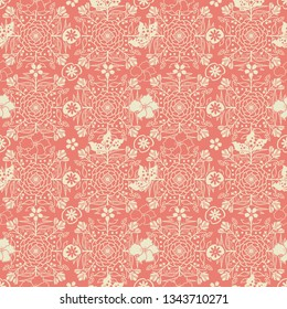 colorful vector seamless pattern tile in beautiful peach and beige colors with symmetrical floral and foliage drawing for textile, fabric, backgrounds, wallpaper and classic surface design templates.