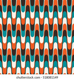 Colorful vector seamless vintage wavy pattern in mid century style.