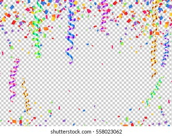 Colorful vector serpentine and confetti on transparent background, transparency grid imitation