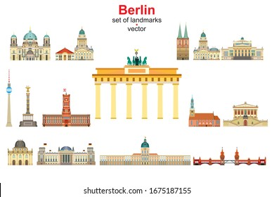 Colorful vector set of Berlin,Germany landmarks. Flat vector colorful illustration of attractions of Berlin front view isolated on white. Vector icon,building outline travel concept.Stock illustration