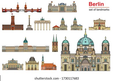Colorful vector set of landmarks of Berlin, Germany in  line art style.Flat vector colorful illustration of attractions of Berlin front view isolated on white background.Vector  outline travel concept