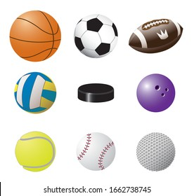 Colorful vector set of sport balls images: volleyball, basketball, football, american football, bowling, baseball, tennis, golf and Hockey puck