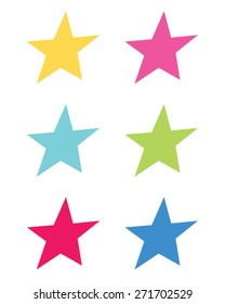 Colorful vector shooting star set