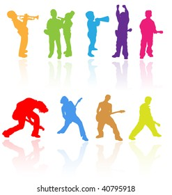 Colorful vector silhouettes set of boys kids performing music play with guitar, trumpet and other instruments