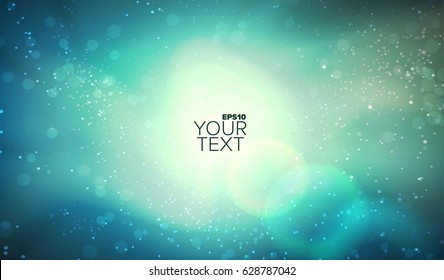Colorful vector space background. Glowing nebula. Abstract galaxy illustration. Outer landscape banner