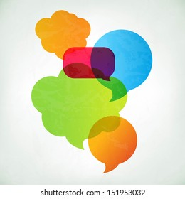 Colorful Vector Speech Bubbles With Gradient Mesh, Vector Illustration