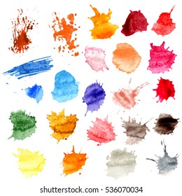 Colorful Vector Splashes - Blot, Stains Set. set splash color. Paint splat set.Paint splashes set for design use.Abstract vector illustration.