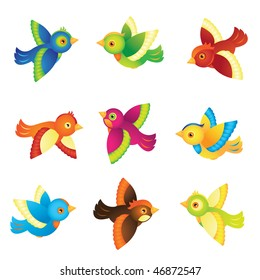 Colorful Vector Spring Birds