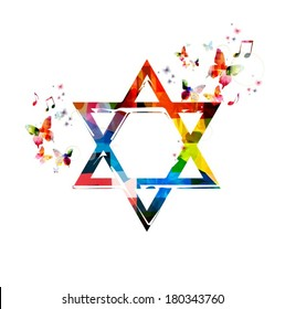 Colorful vector Star of David symbol background with butterflies