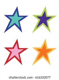Colorful Vector Star Set