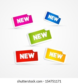 Colorful Vector Stickers with New Title Isolated on Grey Background