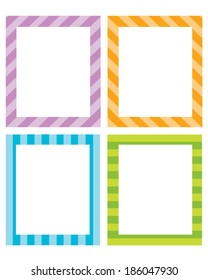 Colorful vector striped invitation temple and frame set