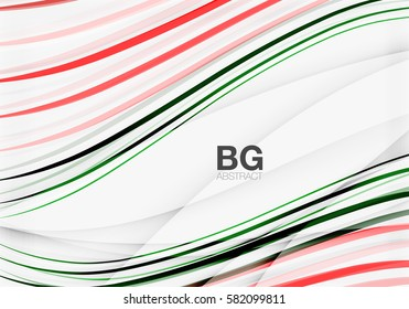 Colorful vector stripes on grey. Modern technology or business web abstract background
