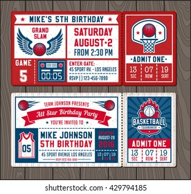 Colorful Vector Template Tickets for Basketball theme Party Invites